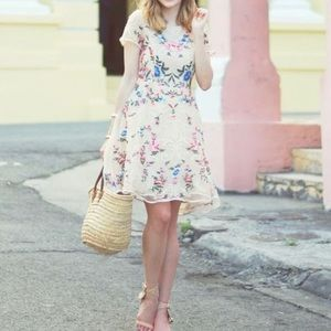 Embroider nude lace dress
